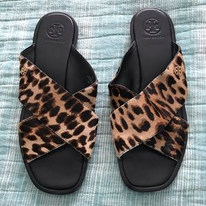 Tory Burch leopard hair calf slides size 8 EUC